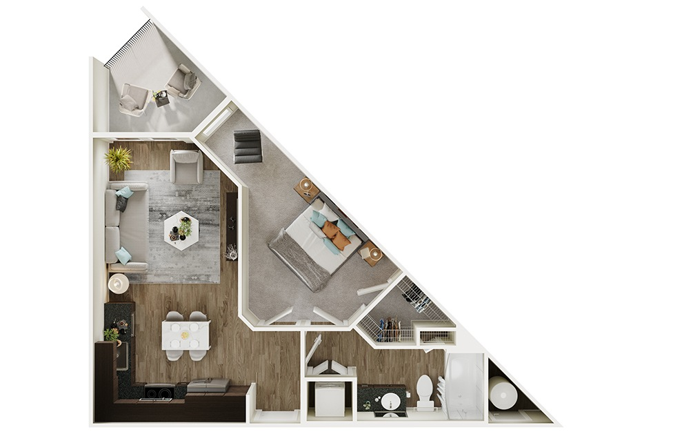 A1p - 1 bedroom floorplan layout with 1 bath and 562 square feet. (3D)