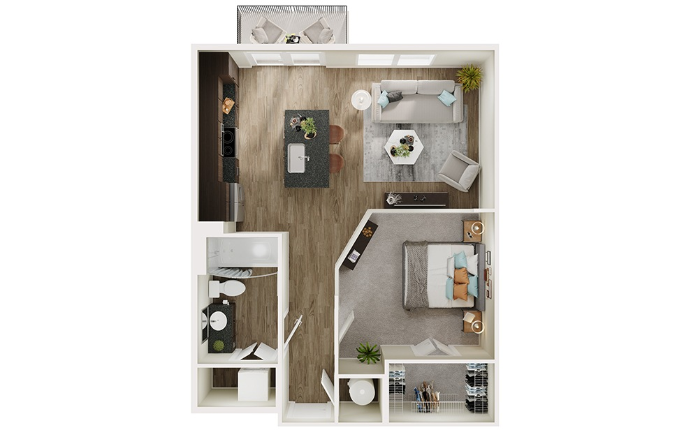 A2p - 1 bedroom floorplan layout with 1 bath and 632 square feet. (3D)