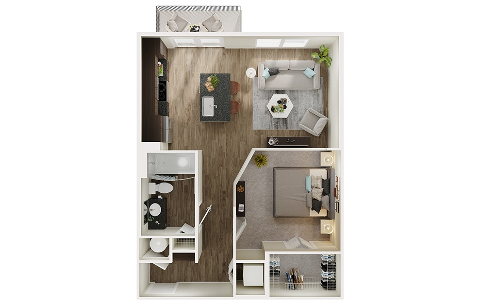 A3 - 1 bedroom floorplan layout with 1 bath and 664 square feet. (3D)