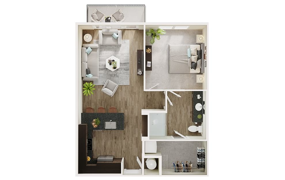A4 - 1 bedroom floorplan layout with 1 bath and 725 square feet. (3D)