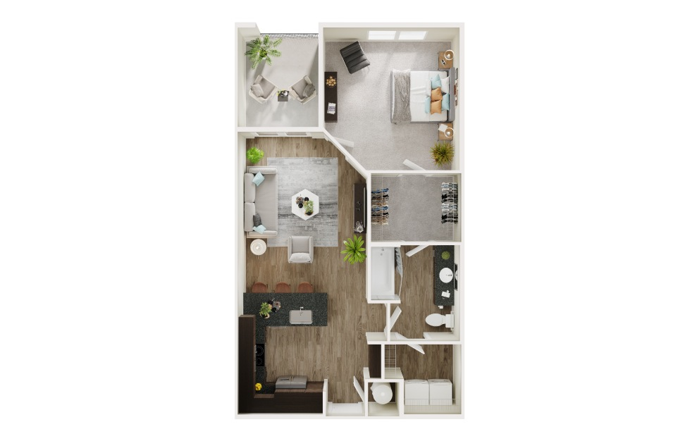 A5 - 1 bedroom floorplan layout with 1 bath and 756 to 757 square feet. (3D)
