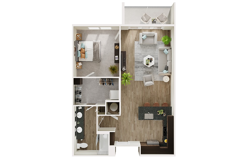 A6 - 1 bedroom floorplan layout with 1 bath and 783 square feet. (3D)