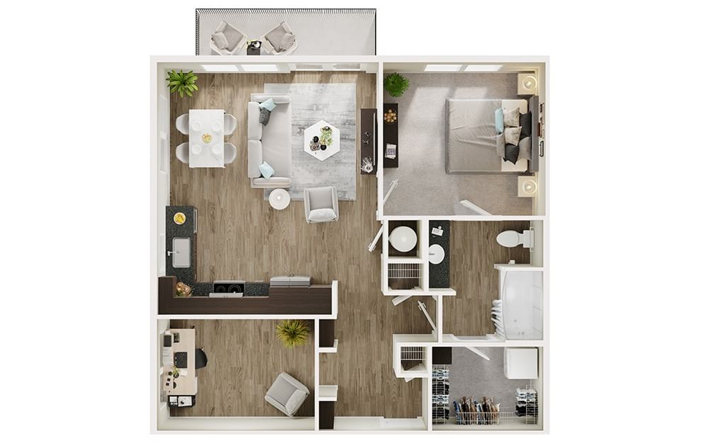 A7D - 1 bedroom floorplan layout with 1 bath and 824 square feet. (3D)