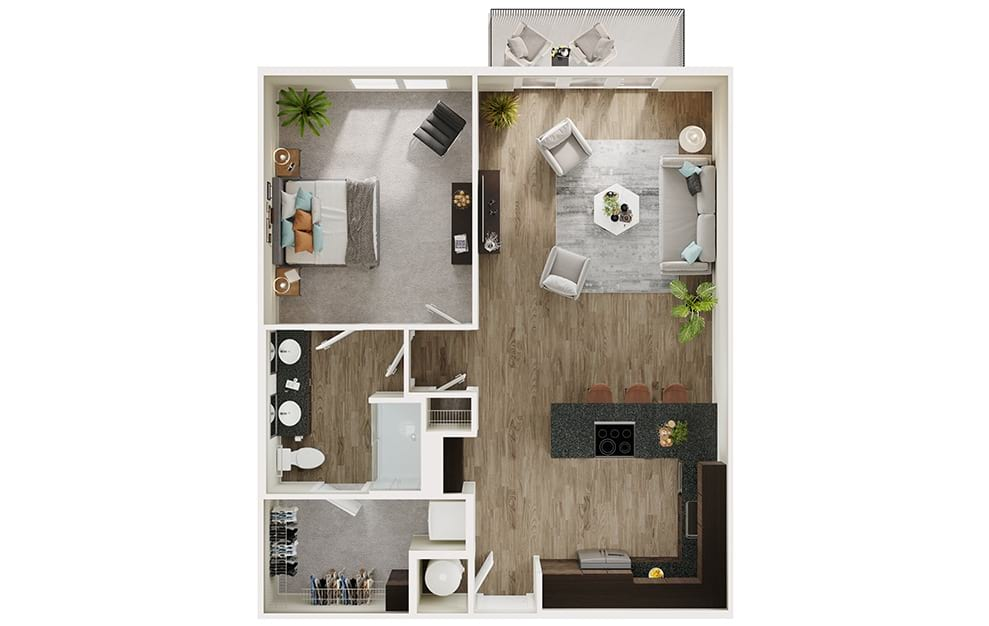 A8 - 1 bedroom floorplan layout with 1 bath and 880 square feet. (3D)