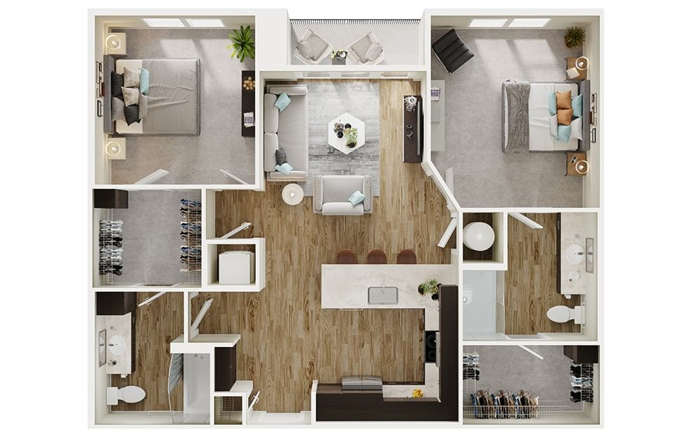 B1 - 2 bedroom floorplan layout with 2 baths and 1070 square feet. (3D)