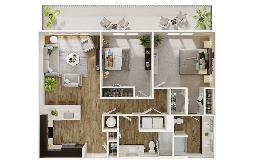 B2 - 2 bedroom floorplan layout with 2 baths and 1080 square feet. (3D)