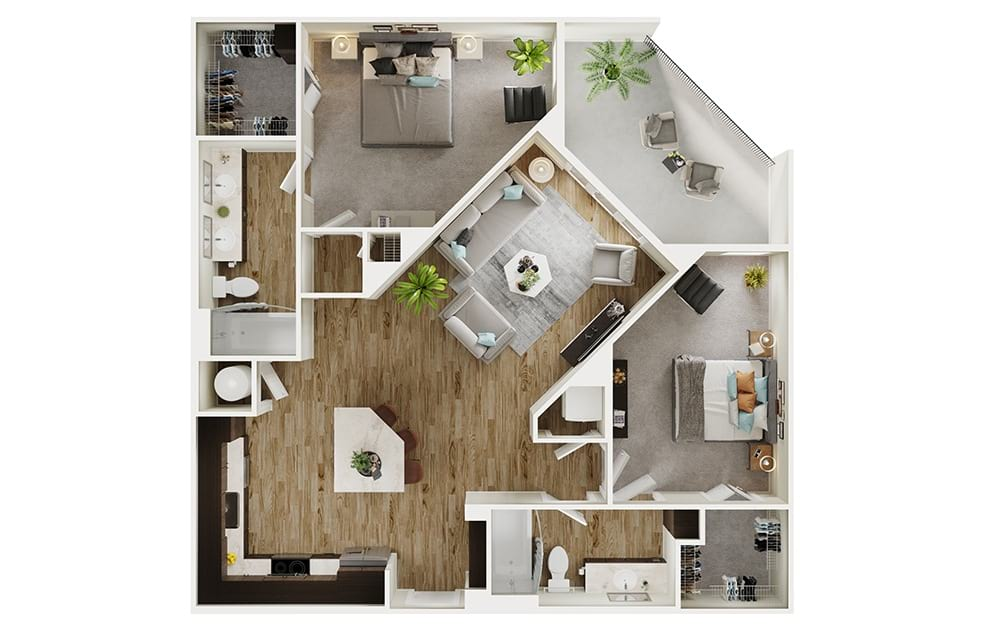 B3 - 2 bedroom floorplan layout with 2 baths and 1126 square feet. (3D)