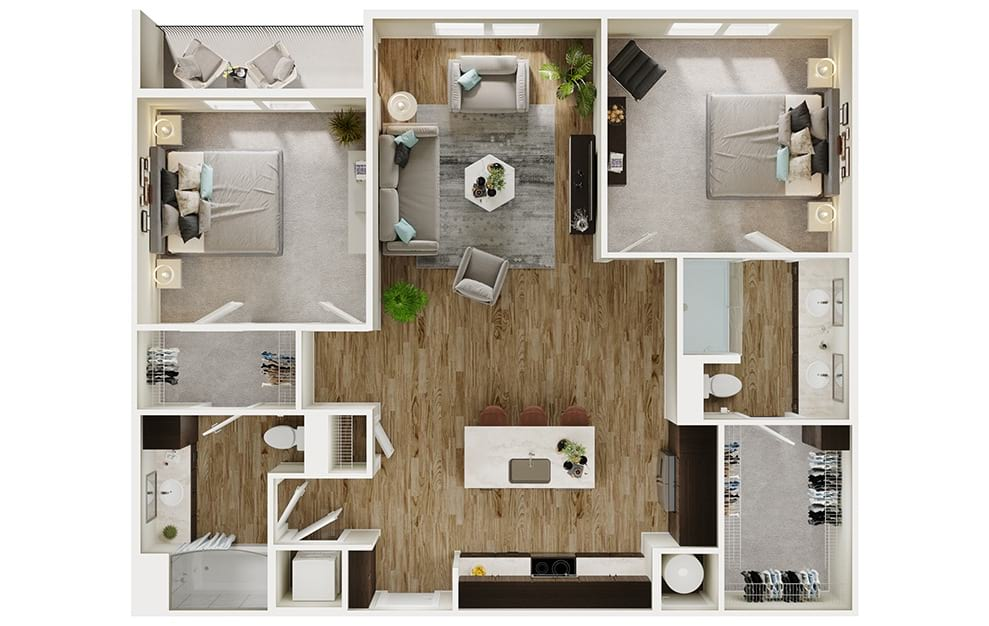 B4 - 2 bedroom floorplan layout with 2 baths and 1165 square feet. (3D)
