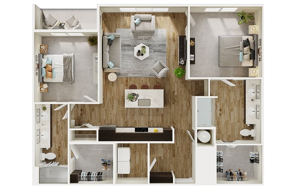 B5 - 2 bedroom floorplan layout with 2 baths and 1238 square feet. (3D)