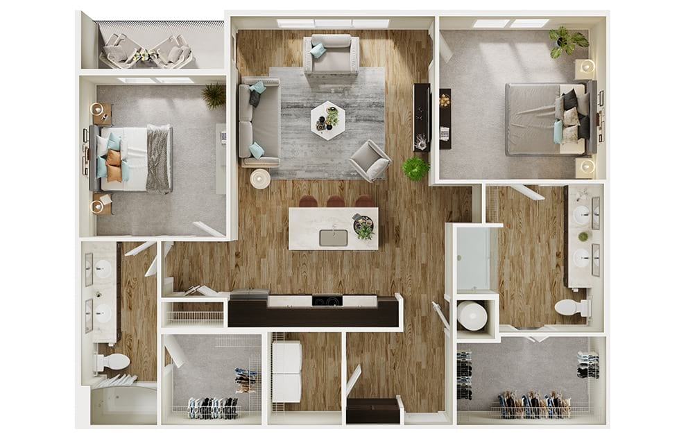 B6 - 2 bedroom floorplan layout with 2 baths and 1261 square feet. (3D)