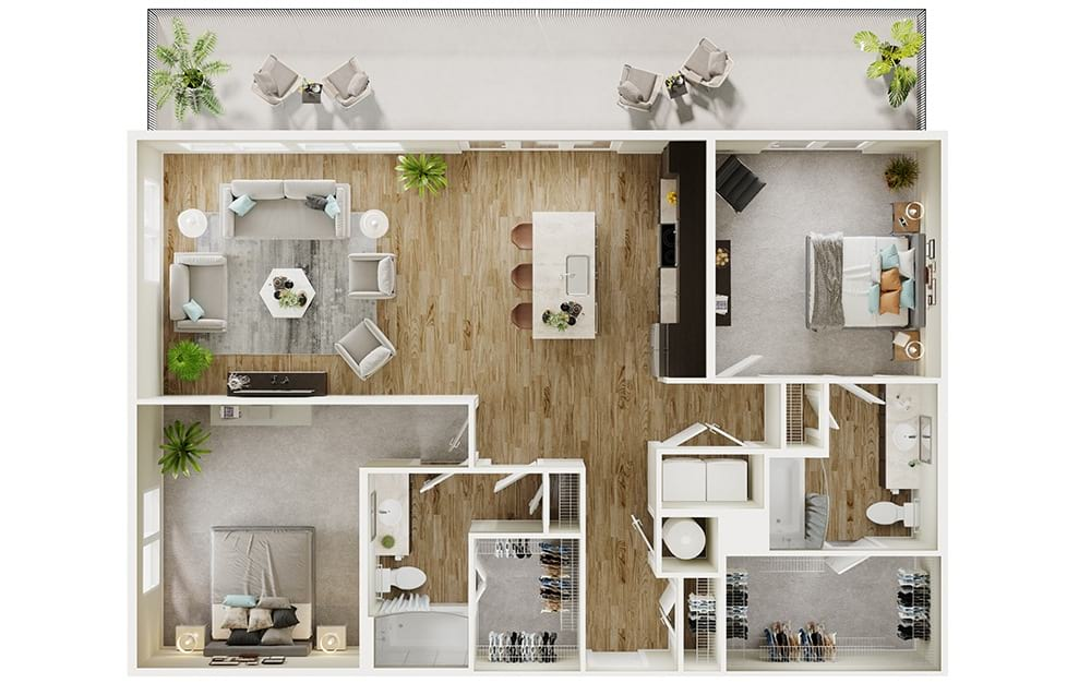 B8 - 2 bedroom floorplan layout with 2 baths and 1330 square feet. (3D)