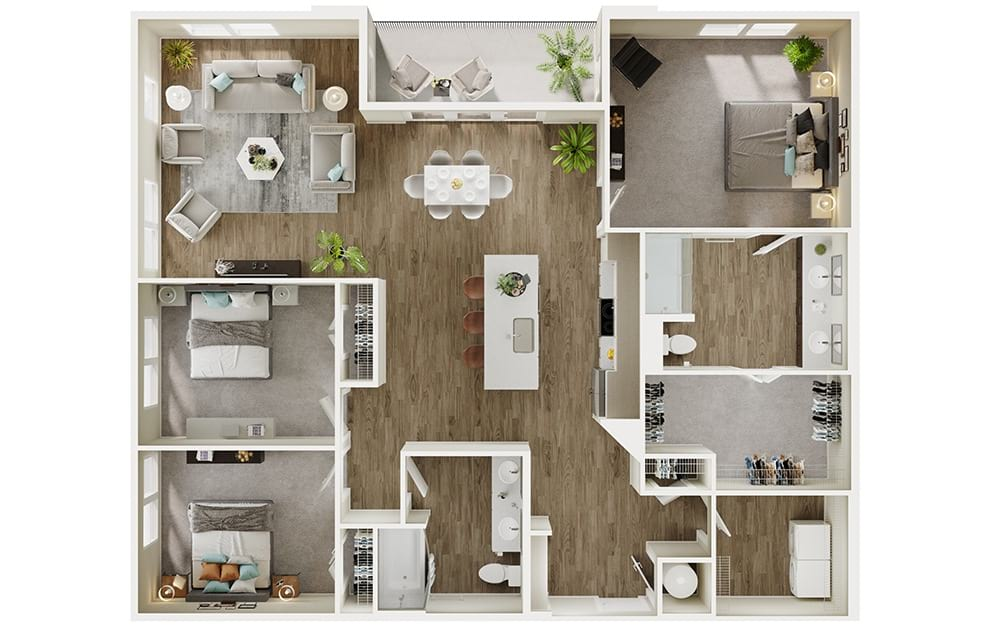 C1 - 3 bedroom floorplan layout with 2 baths and 1594 square feet. (3D)