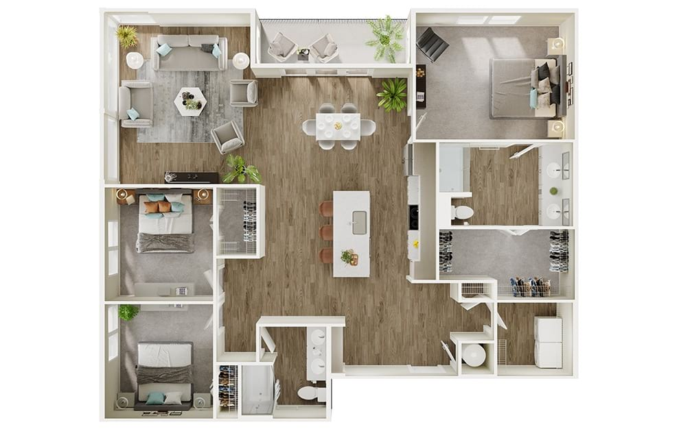 C2 - 3 bedroom floorplan layout with 2 baths and 1687 square feet. (3D)