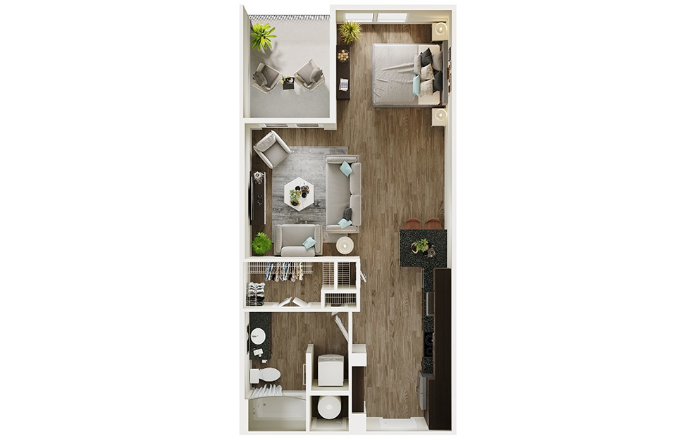 S2p - Studio floorplan layout with 1 bath and 652 square feet. (3D)